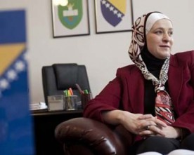 Bosnian mayor with a head scarf